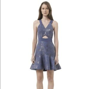 Rebecca Taylor Foil Halter Purple dress